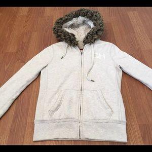 Gilly Hicks Sweater Beige Zipper Pockets Hooded